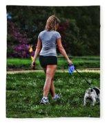Girl Walking Dog Fleece Blanket