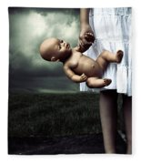 Girl With A Baby Doll Fleece Blanket