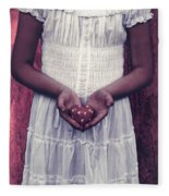 Girl With A Heart Fleece Blanket