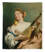 Girl With A Mandolin Fleece Blanket