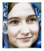 Girl With A Rose Veil 4 Illustration Fleece Blanket