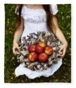 Girl With Apples Fleece Blanket