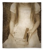 Girl With Books Fleece Blanket