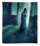 Girl With Candle In Doorway Fleece Blanket