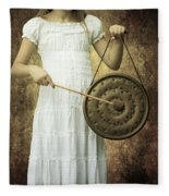 Girl With Gong Fleece Blanket