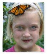 Girl With Monarch Butterfly Fleece Blanket