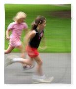 Girls Running Fleece Blanket