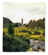 Glendalough Stream And Tower Fleece Blanket