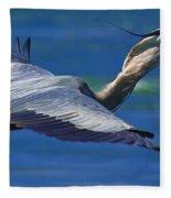 Gliding Great Blue Heron Fleece Blanket