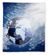 Globe With Fiber Optics Fleece Blanket