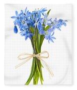 Blue Wildflower Bouquet Fleece Blanket