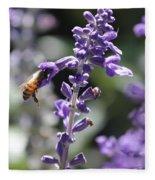 Glowing Bee In Purple Flowers Fleece Blanket