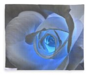 Glowing Blue Rose Fleece Blanket