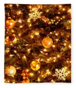 Glowing Golden Christmas Tree Fleece Blanket