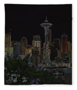 Glowing Seattle Skyline Fleece Blanket