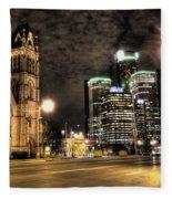 Gm Building Detroit Mi Fleece Blanket