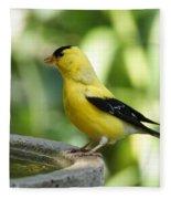 Gold Finch At The Bird Bath Fleece Blanket