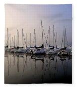 Gold N Blue Sailboats Too Fleece Blanket
