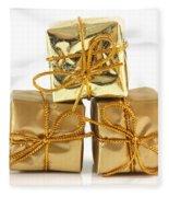 Gold Wrapped Parcels Fleece Blanket