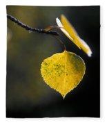 Golden Aspen Leaf Fleece Blanket