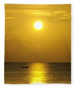 Golden Bahamas Sunset Fleece Blanket