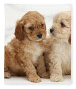Golden Cockerpoo Puppies Fleece Blanket