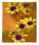 Golden Coreopsis Wildflowers  Fleece Blanket