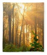 Golden Fog Thru The Trees Fleece Blanket