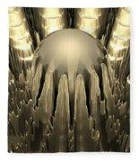 Golden Fractal Fleece Blanket