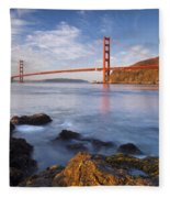 Golden Gate At Dawn Fleece Blanket