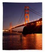 Golden Gate Bridge At Night 2 Fleece Blanket
