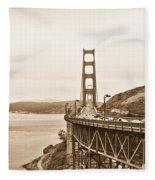 Golden Gate Bridge In Sepia Fleece Blanket