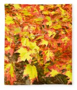 Golden Maple Leaves Fleece Blanket