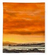 Golden Morning Over Humboldt Bay Fleece Blanket