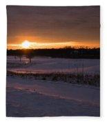 Golden Orange Winter Sunset Over The Golf Fleece Blanket