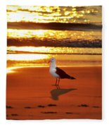 Golden Sunrise Seagull Fleece Blanket