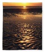 Golden Sunset On The Sand Beach Fleece Blanket