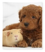 Goldendoodle Puppy And Guinea Pig Fleece Blanket
