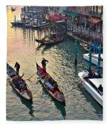 Gondolieri At Grand Canal. Venice. Italy Fleece Blanket