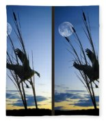 Goose At Dusk - Cross Your Eyes And Focus On The Middle Image Fleece Blanket
