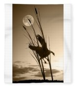 Goose At Dusk - Sepia Fleece Blanket