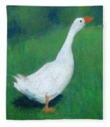 Goose On Green Fleece Blanket