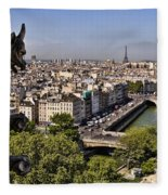 Gorgyle View Of Paris Fleece Blanket