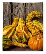 Gourds Against Wooden Wall Fleece Blanket