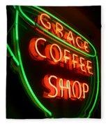 Grace Coffee Shop Neon Fleece Blanket