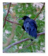 Grackle On A Branch Fleece Blanket