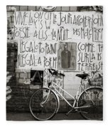 Graffiti And Bicycle Fleece Blanket