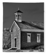Grafton Schoolhouse - Bw Fleece Blanket