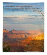 Grand Canyon Splendor - With Quote Fleece Blanket