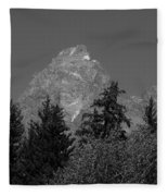 Grand Teton Bw Fleece Blanket